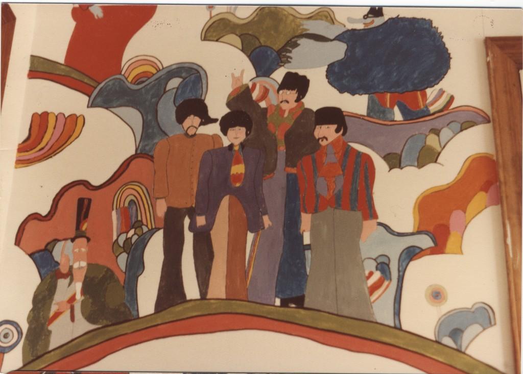 Yellow submarine mural for Beatles wall mural